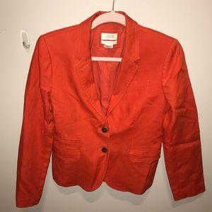 J Crew schoolboy orange linen jacket